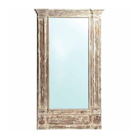 Maria Floor Mirror antique wood brown white