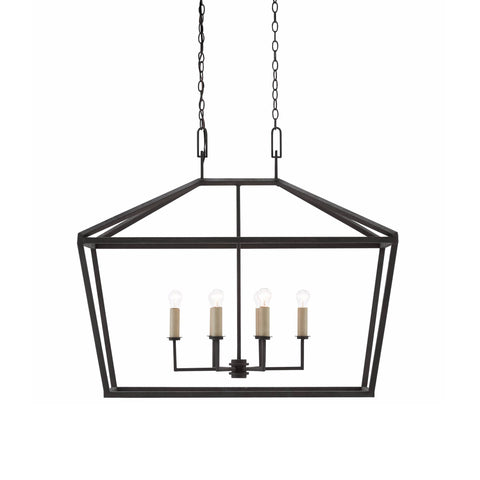 Bentley black iron lantern rectangular chandelier