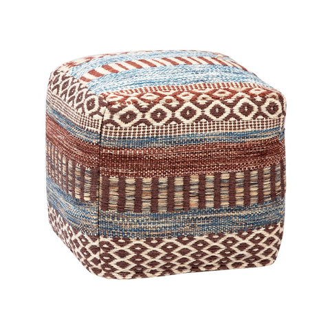 Reyna multi-color wool cotton pouf