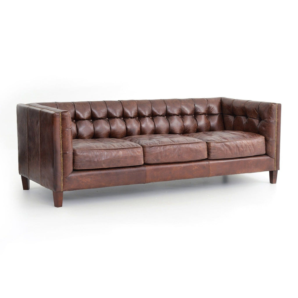 Hatfield cigar brown leather brass nailheads sofa