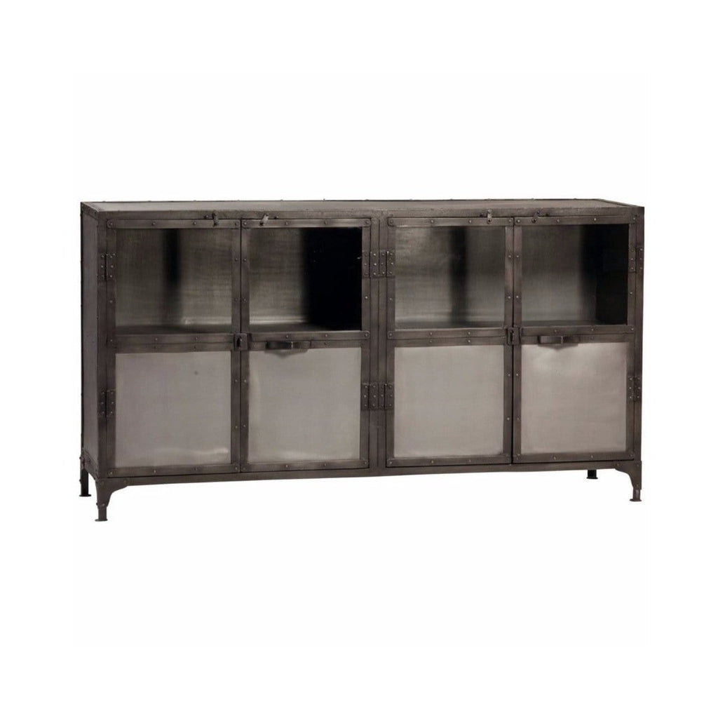 Abigail grey glass metal cabinet