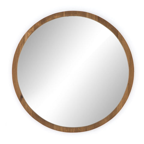 Holbrook oak wood round wall mirror