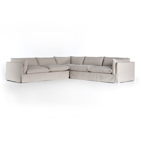 Karis grey linen performance fabric slipcover sectional