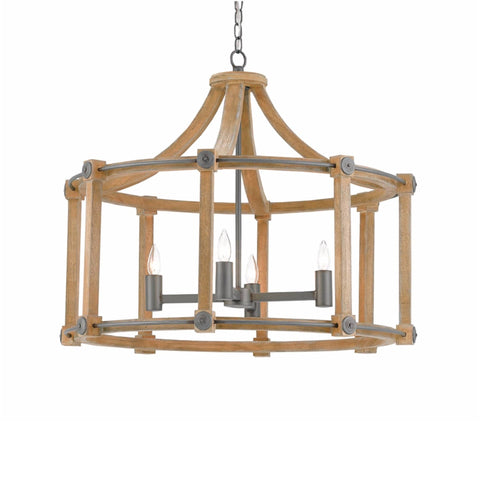 Hartwood brown wood grey iron chandelier
