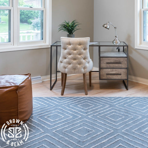 Finch teal grey diamond cotton rug