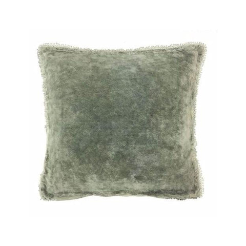 Faded velvet square pillow green