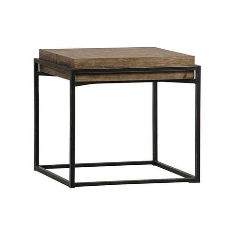 Nellie End Table wood metal brown black