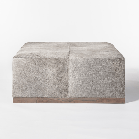 Adams Large Ottoman fur hide square ottoman birch wood base variations