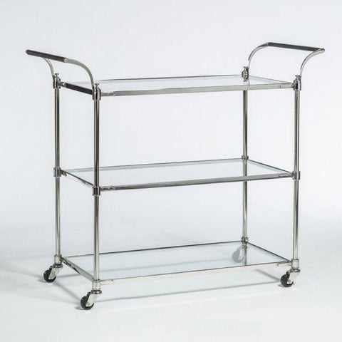 Breton polished chrome metal glass bar cart