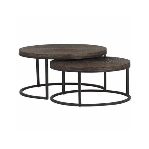 Darek Coffee Table wood brown black metal living room