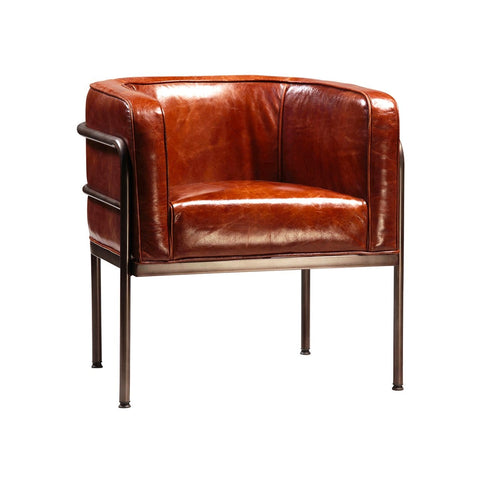Bethany brown leather steel club chair