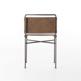 Grayson brown leather metal industrial dining chair