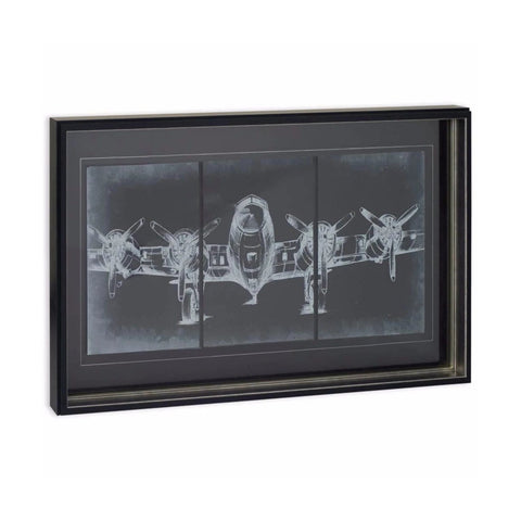 Plane Graphic black wall art