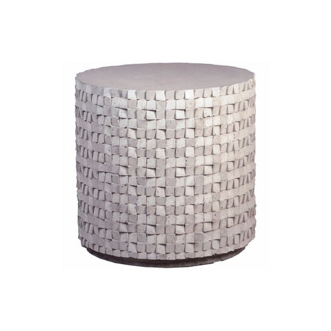 Drew grey concrete carved woven texture end table