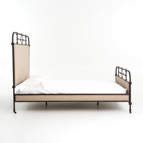 Barnett Bed with a Polyester and Linen Blend with Iron detailing comes in ivory color