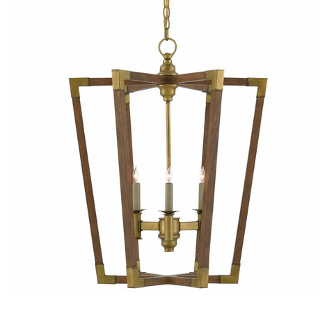 Boca chestnut wood brass chandelier small