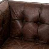 Hatfield cigar brown leather brass nailheads club chair