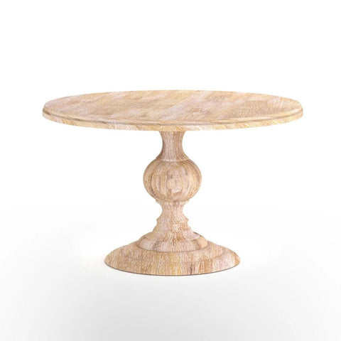 Clancy round farmhouse mango wood dining table whitewash