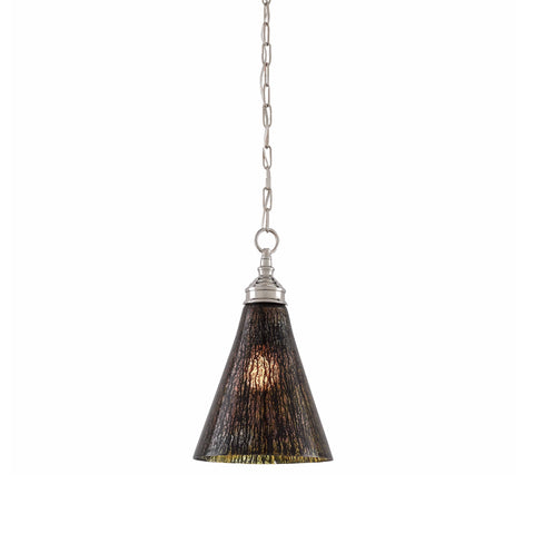 Clyde black textured glass nickel pendant light