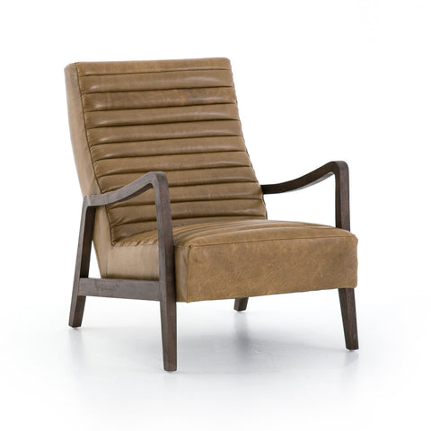 Malone caramel leather channeling chair
