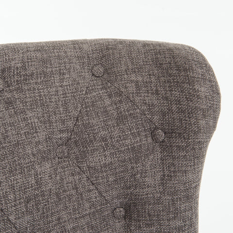 Ellie charcoal linen tufted dining chair wing back