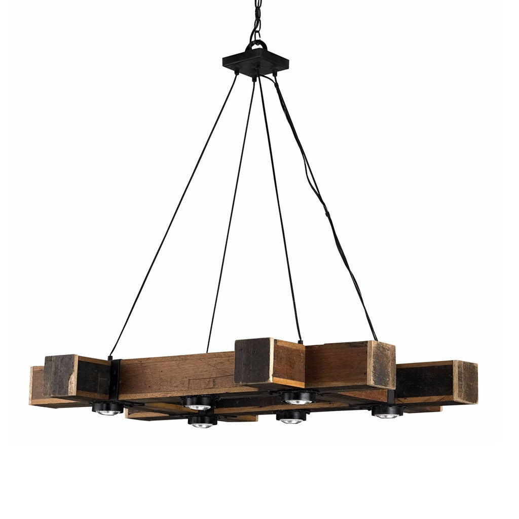Barney reclaimed wood iron chandelier