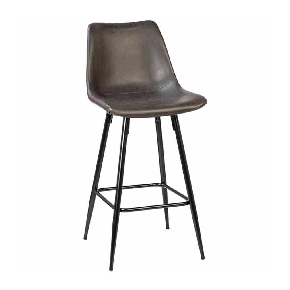Camille grey leather metal counter stool