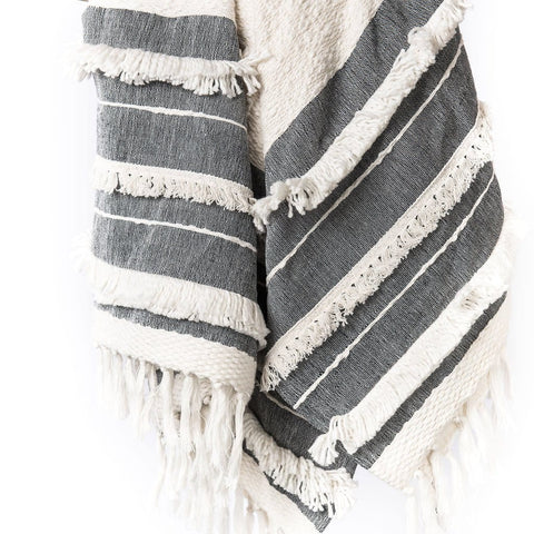 Serenity Throw cotton white grey shop for a cause