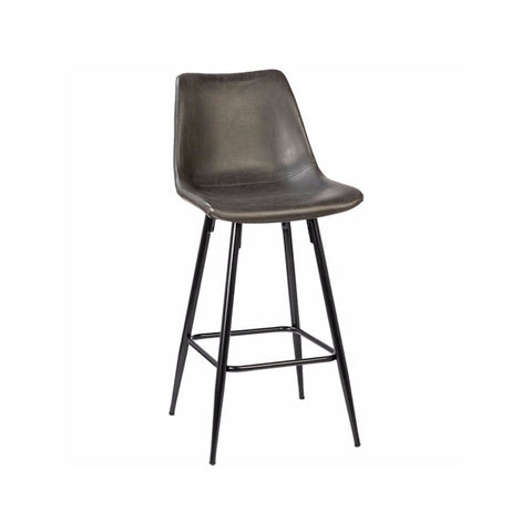 Camille grey bonded leather metal bar stool angle view