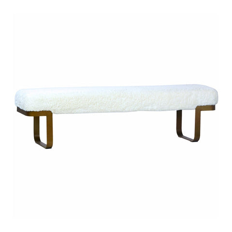 Brenna ivory sherpa faux fur bench