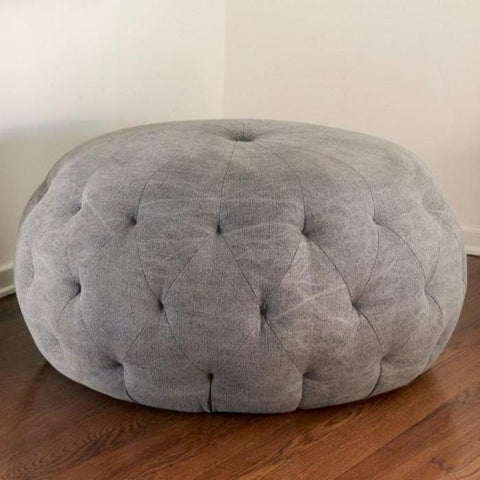 Hill tufted upholstery leather pouf custom in lavender