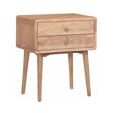 Matson white-washed wood storage nightstand end table