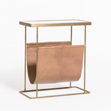 Hefley Accent Table leather marble brass