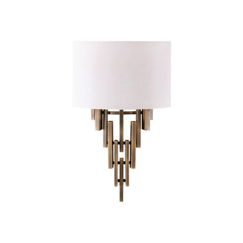 Adair Wall Sconce antique brass metal frame white linen shade modern lighting