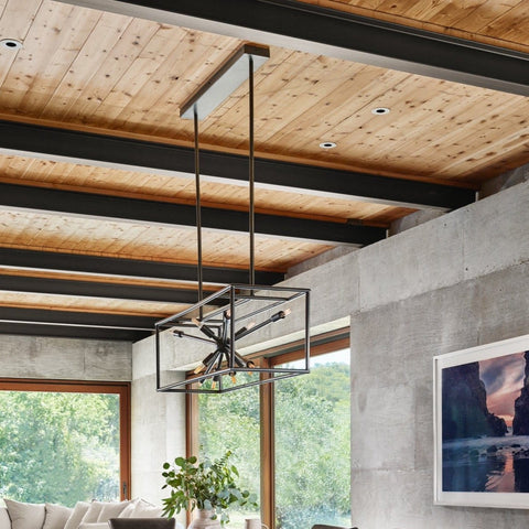 Adrian wide ebony brass steel modern chandelier