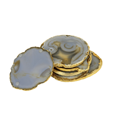 natural Agate Gold Edge Coasters decor