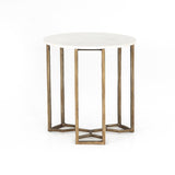 Aiken End Table white marble antique brass