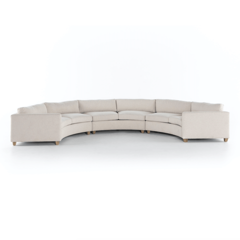 Ailani 3 Piece Sectional ivory recyled polyester wood legs modular circular front view