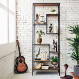 Albert small bookshelf Poplar Reclaimed Pine Sealed shelf iron frame
