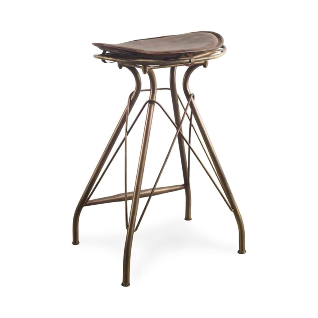 Alden Bar Counter Stool leather iron