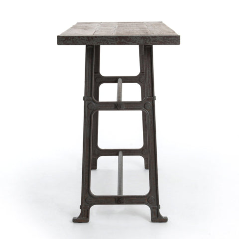 Alder Bar Table bleached oak gunmetal cast iron frame