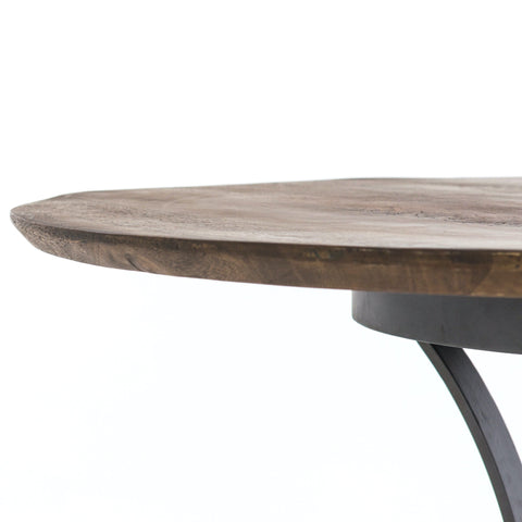 Alex Dining Table brown reclaimed wood round top black metal base modern