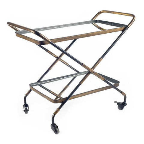 Alvar Bar Cart industrial style bronze black iron frame glass top front view