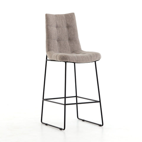 Amelia bar counter stool grey canvas iron modern
