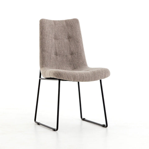 Amelia dining chair grey canvas iron modern