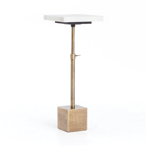 Anastasia End table stainless brass steel frame white marble top