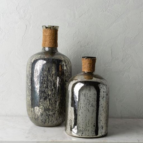 Aria Vases distressed grey black accents jute string top trendy industrial decor
