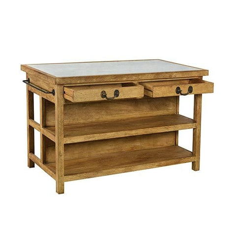 Arlington Kitchen Island is made of brown Reclaimed Wood and has a White Marble top with black Iron accents