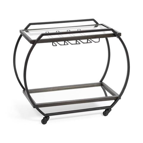 Asha Bar Cart gunmetal black iron frame glass shelves