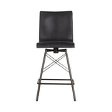 Asher Swivel Bar + Counter Stool distressed black